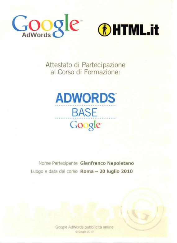 Certificazione corso adwords base